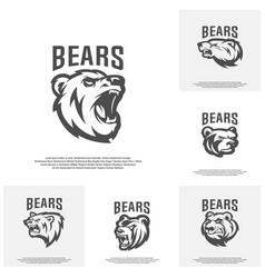 collection of bear logo design modern vector image
