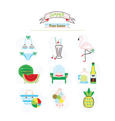 Colorful fashion trends summer and beach icons set vector