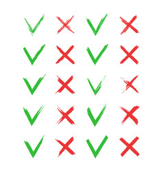 cross and tick icons mark check v-green x-red vector image