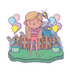cute little girl playing maracas vector image