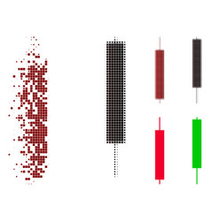 Damaged dotted halftone candlesticks icon vector