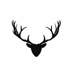 deer head with antlers silhouette black vector image