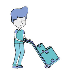 delivery man with packages in transport tool vector image