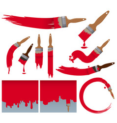 Different brushstrokes paintbrush in red vector