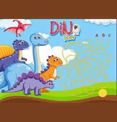 Dino maze puzzle game template vector