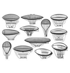 Dirigible airships and air balloons aeronautics vector