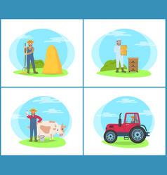Farming people at lands set vector