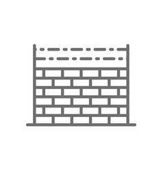 fence with barbed wire prison wall line icon vector image