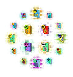 file format icons set pop-art style vector image