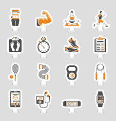 Fitness icon sticker set vector