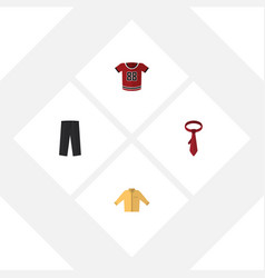 Flat icon clothes set of banyan t-shirt cravat vector