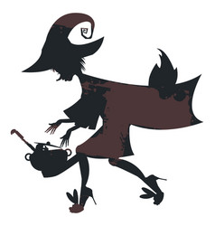 flying witch on broom with witch cauldron vector image