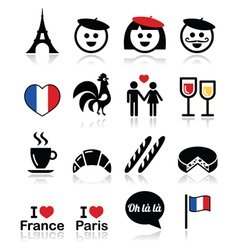 France I love Paris icons set vector image