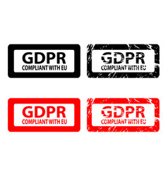 gdpr compliant with eu - rubber stamp vector image