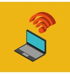 Global connection wifi digital laptop vector