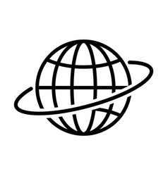 globe outline icon in flat style earth symbol vector image