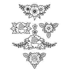 graphic floral vignettes vector image