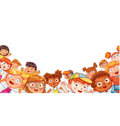 group happy children waving at the camera vector image