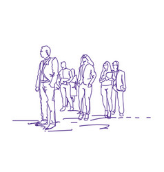 Group of business people walking doodle vector