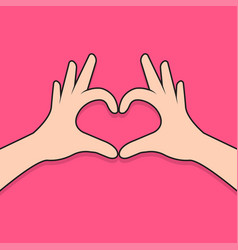 hands making heart shape vector image