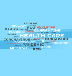 Health care word tag cloud typography on a blue vector