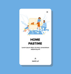 Home pastime family playing board game vector