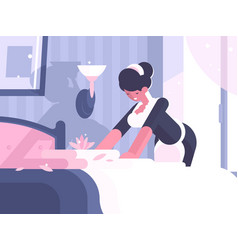 Hotel service cleaning and linen change vector