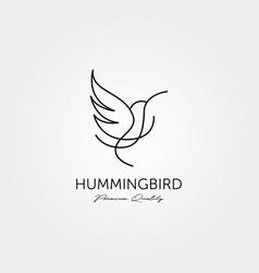 Hummingbird logo line art minimalist design vector
