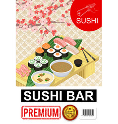 isometric sushi bar poster vector image