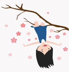 little girl hanging on a cherry tree branch vector image