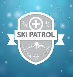 Logotype mountain ski patrol rescue on blue vector