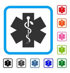 Medical life star framed icon vector
