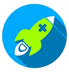 Medical rocket flat round icon with long shadow vector