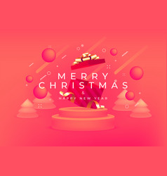 merry christmas and happy new year with red gift vector image
