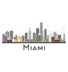 Miami usa city skyline with gray buildings vector