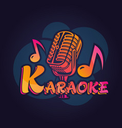 microphone label for karaoke bar vector image