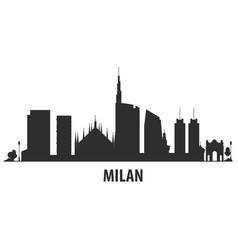 milan city skyline - cityscape silhouette with vector image