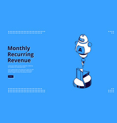 monthly recurring revenue isometric landing page vector image
