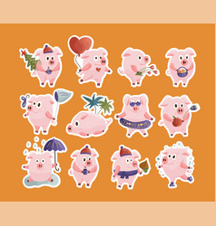new year 2019 set with christmas pigs vector image