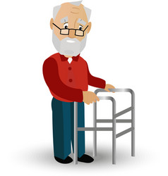 Older man on a walker needs medical care may vector