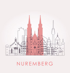 outline nuremberg skyline with landmarks vector image