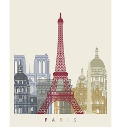 Paris skyline poster vector image