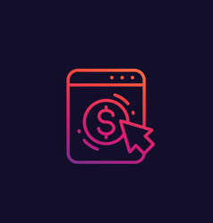 pay per click icon linear vector image