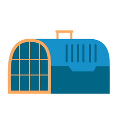 Pet carrying case blue container with handle vector