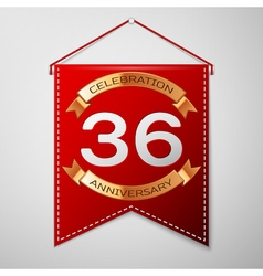 Red pennant with inscription Thirty six Years vector