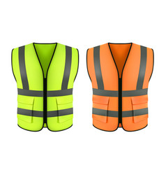 Reflective orange vest green construction jacket vector