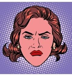 Retro Emoji wicked contempt woman face vector image