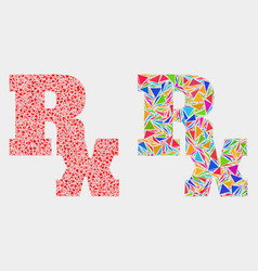 rx symbol mosaic icon triangle elements vector image