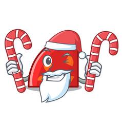 santa with candy quadrant mascot cartoon style vector image