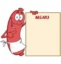 Sausage Cartoon Mascot Character Showing Menu vector image